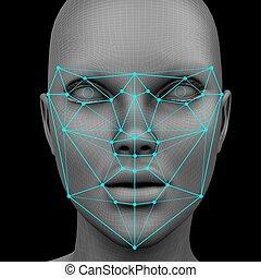 reconocimiento, sin, pelo, biometric, facial