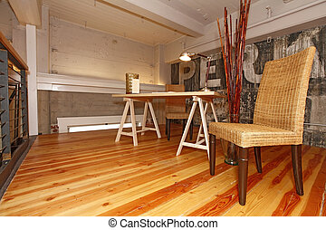 reconstructed, escritório., mezzanine