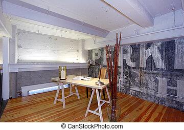 reconstructed, kantoor., mezzanine