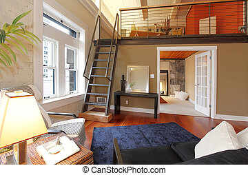 Reconstructed modern living room with mezzanine area