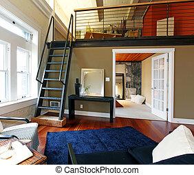 Lebensunterhalt, dachgeschoss, minimalist, mezzanine, sofa ...