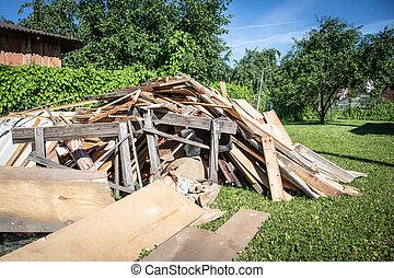 reconstruction, conseils, bois, construction, yard, débris, plates.