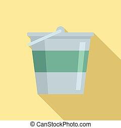 Reconstruction metal bucket icon, flat style