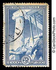 GREECE - CIRCA 1951. Vintage postage stamp printed for the financial aid program Marshall Plan under the U.S. assistance for the reconstruction of Europe, with workers restoring ancient monument illustration, circa 1951.