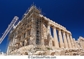 Reconstruction of Parthenon in Acropolis, Athens, Greece