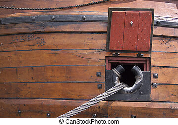 Reconstruction of the VOC ship The Batavia - Cannons hole of...