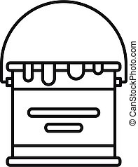 Reconstruction paint bucket icon, outline style