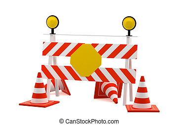 Reconstruction sign - road block sign - isolated on white background - 3d rendering