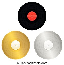 Records - black, gold, silver or platinum record for award or certification. Isolated vector illustration on white background.