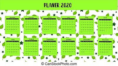 record., colours., klar, grønne, kalender, color., lys, sted, planlægger, 2020.