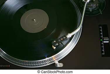 Record Deck - Record Playing on a Hi-Fi Turntable