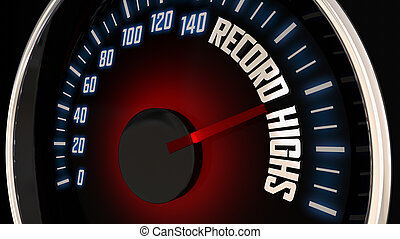 Record Highs Speedometer Fast Rate Level Max 3d Illustration