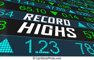 Record Highs Stock Market Share Prices Bull Bubble 3d Illustration