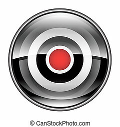 Record icon black, isolated on white background.