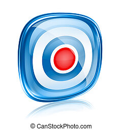 Record icon blue glass, isolated on white background.