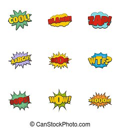 Record label icons set, cartoon style - Record label icons...