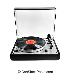 Record on turntable - Isolated manual record player with...