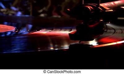 Record player, blue light.