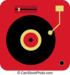 Record player, illustration, vector on white background.