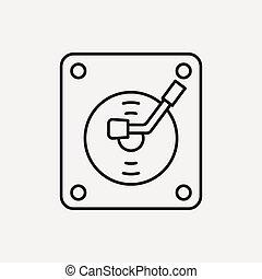 record player line icon