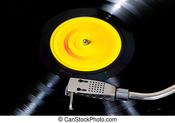 Close up view of a Record player with motion blur.