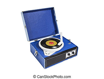 Record Player Retro - Old blue record player isolated with...
