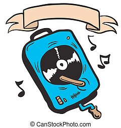 record player with banner cartoon doodle