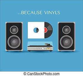 Record player with boxes and vilnyl disc. Stock vector