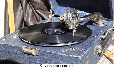 gramophone - record playing in gramophone