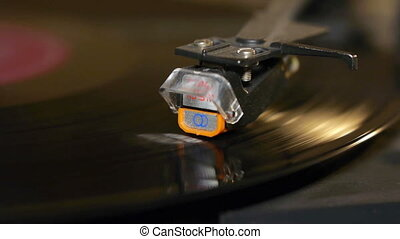 Record playing on turntable