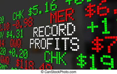 Record Profits Rising Increase Stock Market Prices Ticker 3d Illustration