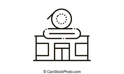 record shop Icon Animation. black record shop animated icon on white background