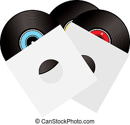 record sleeve - An illustrated selection of three records in...