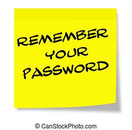 recordar, nota pegajosa amarilla, escrito, contraseña, su