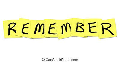 recordar, -, palabra, en, amarillo, notas pegajosas
