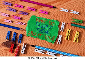 recordatorio, coloreado, pensar, question., escritura, plano...