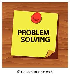 recordatorio, papel, palabra, resoluciónde problemas, vector., vector, illustration.