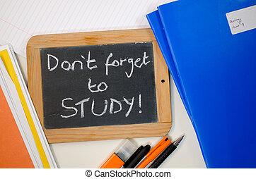 recordatorio, refrán, dont, olvídese, para estudiar