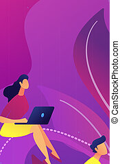 Recorded classes concept vector illustration. - Students...
