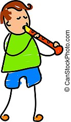 little boy playing the recorder - toddler art series