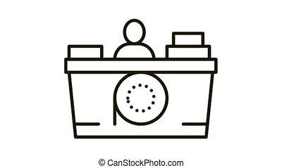 recorder seller Icon Animation. black recorder seller animated icon on white background