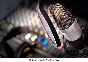 Recording equipment in studio. Studio microphone with...