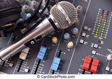 Recording equipment in studio top view - Recording equipment...