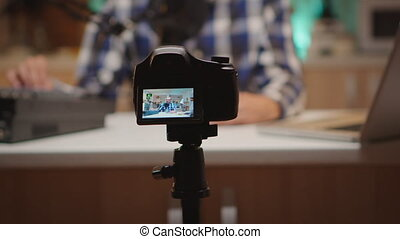 Famous influencer recording online show in home studio. Creative online show On-air production internet broadcast host streaming live content, recording digital social media communication