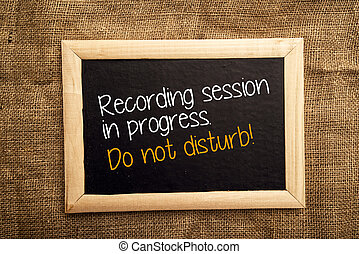 Recording session in progress. Do not disturb.