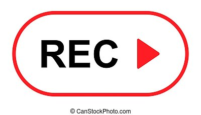 Recording sign button, red app panel, rec, vector symbol ...