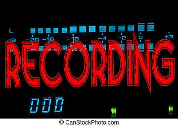 Recording sign in studio