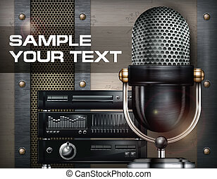 Recording studio and microphone on metallic background, ...