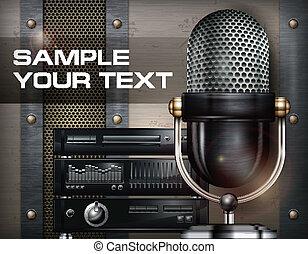 Recording studio and microphone on metallic background, vector illustration