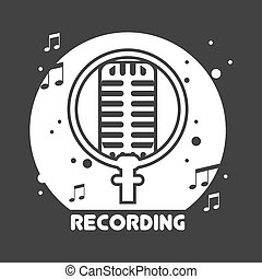 Recording studio black and white emblem with microphone